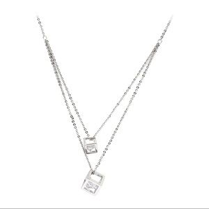 Silver duplexes cubic crystal necklace